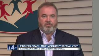 Mike McCarthy visits kids at Madison's American Family Children's Hospital