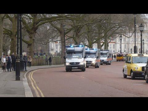 Metropolitan Police Territorial Support Group Mercedes Sprinters Responding In Convoy