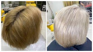 Осветление волос после смывки Бежевый блондин Beige blond Lightening damaged hair