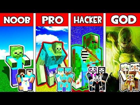 Minecraft - NOOB vs PRO vs HACKER vs GOD : FAMILY ZOMBIE MONSTER MUTANT in Minecraft Animation
