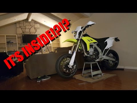 DIRT BIKE TO SUPERMOTO CONVERSION IN A LIVING ROOM