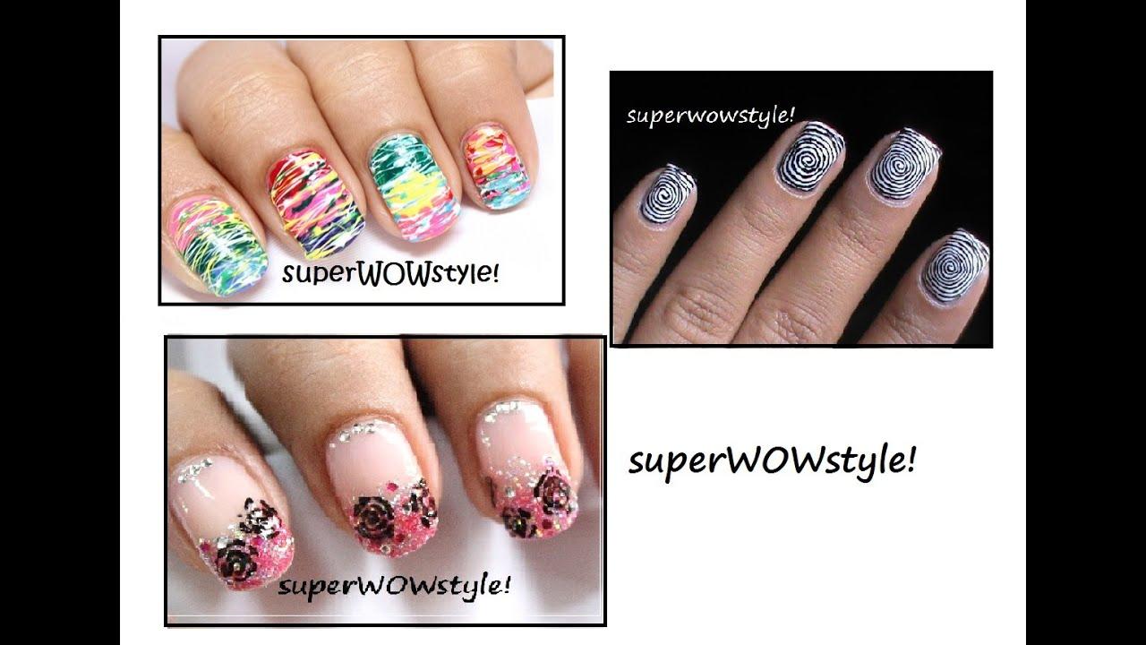 3 Nail Designs *No tools* ! ✓ Toothpick Nail Art Designs - YouTube