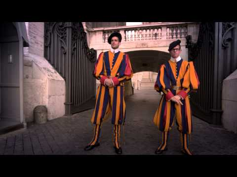 VATICAN CITY - MAY 2012 Swiss Guards stand at their post on May 8, 2012, in Rome, Italy.