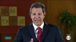 Fernando Haddad (PT) é entrevistado ao vivo jornal nacional pos 1 turno