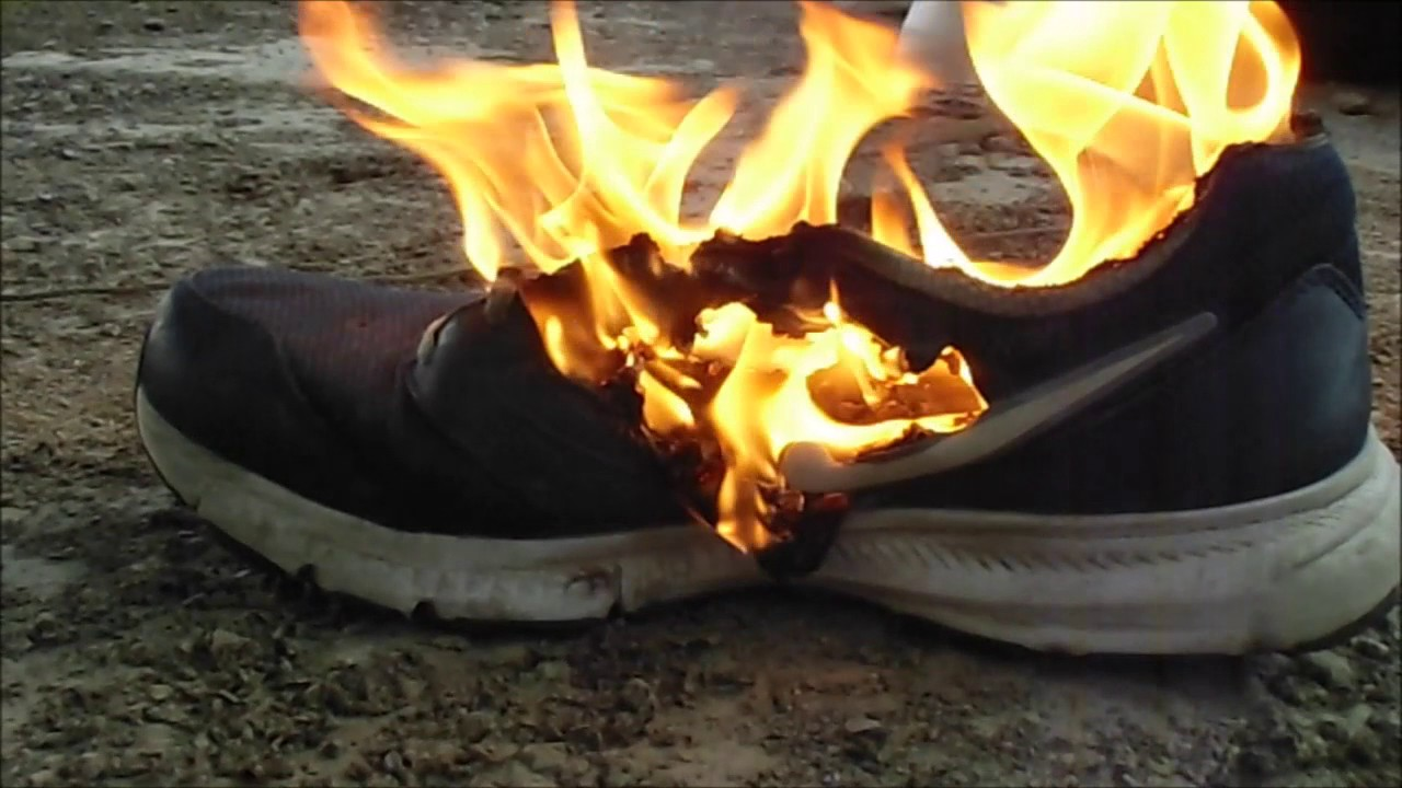 Image result for burning nike shoes