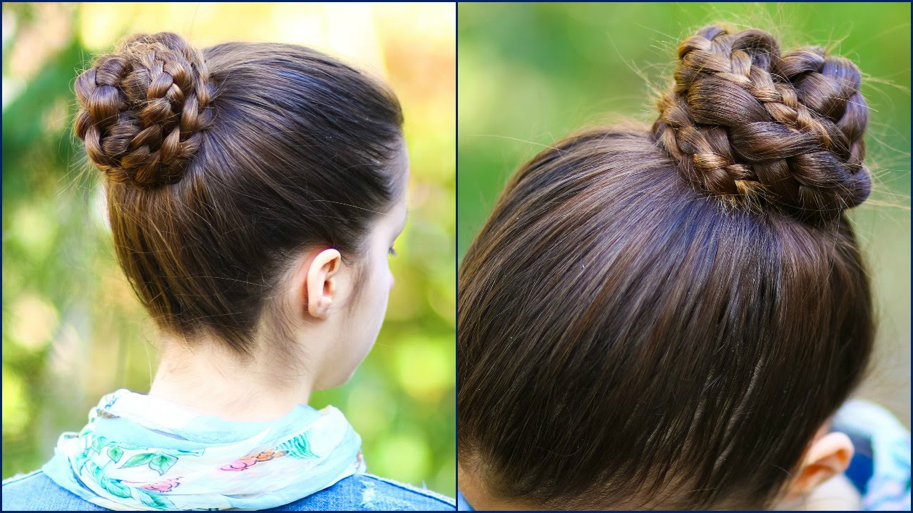 Quick & Easy BRAIDED BUN for School! ★ 2 minute hairstyle ...