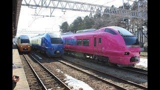 ひな祭りに合わせて村上駅で特急いなほ号の鉄道車両展示イベント