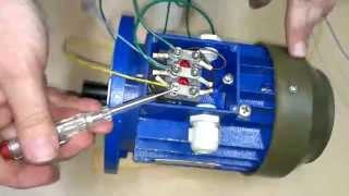 Как быстро и просто подключить трехфазный двигатель в однофазную сеть. DuMA8819.(Используются: Электродвигатель 250 Вт, автоматический выключатель и рабочий конденсатор 20 МкФ., 2014-07-06T21:25:56.000Z)