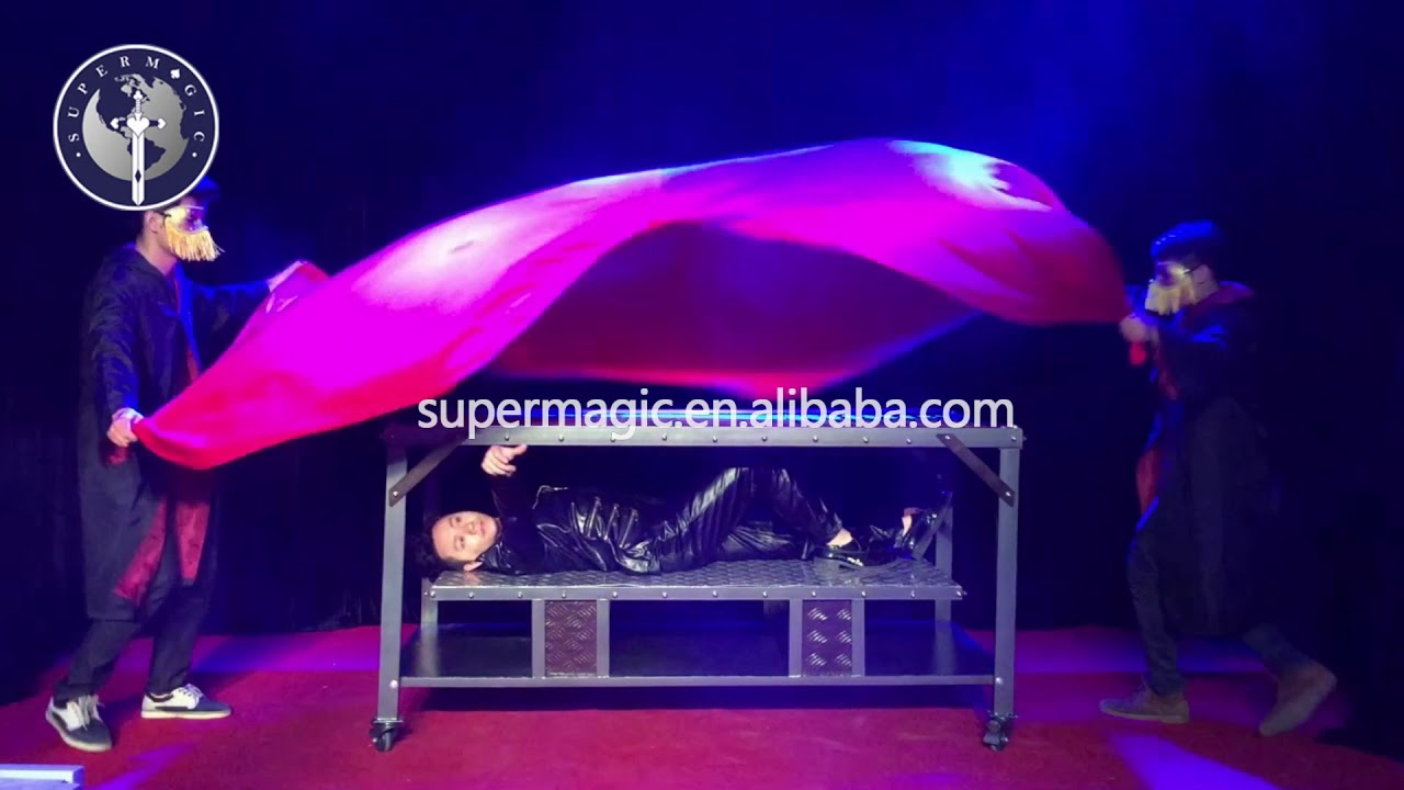 Magic illusion B013 horizontal through the steel plate stage illusion magic .