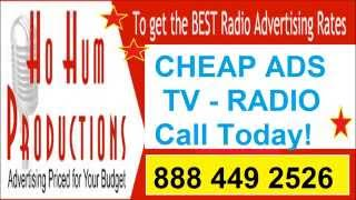Cheap TV Ads, commercials 888 449 2526  radio ads FREE