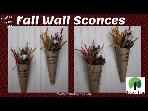 DOLLAR TREE DIY | Home Décor Wall Sconces | French Farmhouse | Decorate for FALL