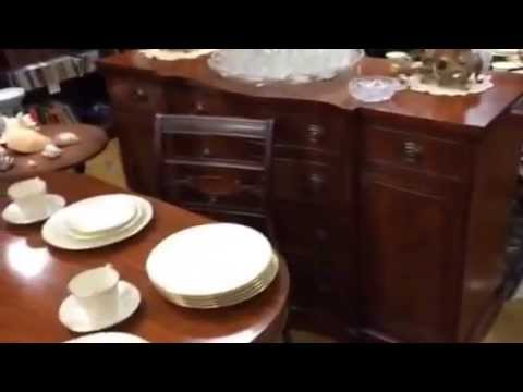 Duncan Phyfe dining room table set at Gannon's Antiques