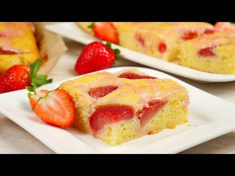 Versunkener Erdbeerkuchen vom Blech - Erdbeer Blechkuchen