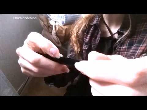 Long nails/hand/fingers/comb sounds/ talking