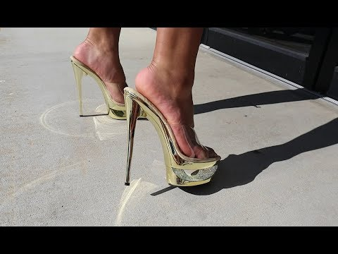 Unboxing Review Gold Plated 6 5 Inch Pleaser Eclipse Rhinestone 6 5 Inch  High Heel Shoes
