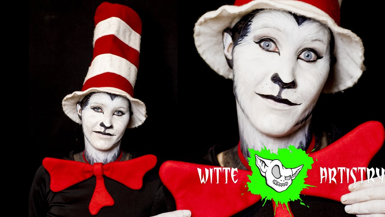 ✅cat in the hat halloween makeup tutorial in 4k - witte artistry