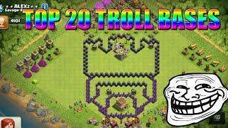 Top 20 Funny/Troll base design | Clash of clans Must watch!
