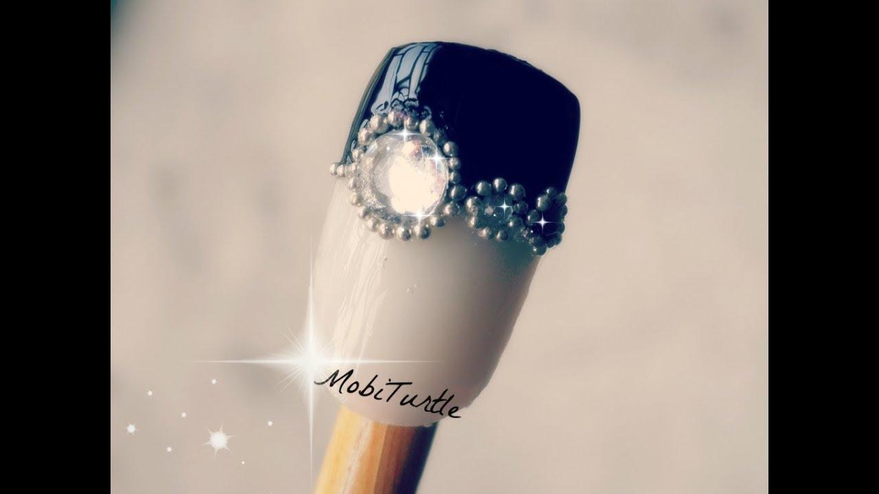Glamorous Black French Tip Rhinestones Gems and Beads Prom Nail ...