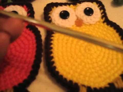 Crochet Youtube Videos : Crocheted Owl Coasters! - YouTube