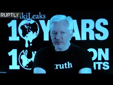 Assange speaks at WikiLeaks' 10th anniversary in Berlin