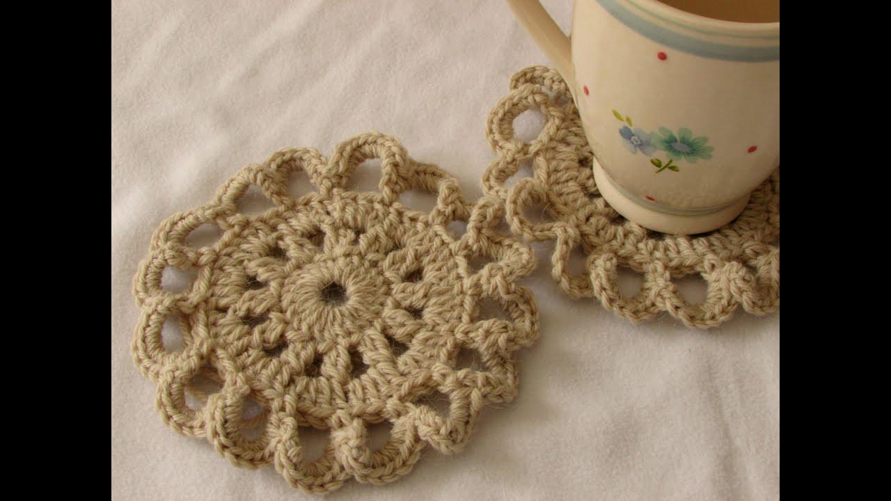 VERY EASY pretty crochet coaster tutorial - YouTube