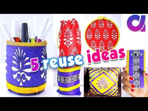 5 Awesome old saree reuse ideas | best out of waste | Artkala 250