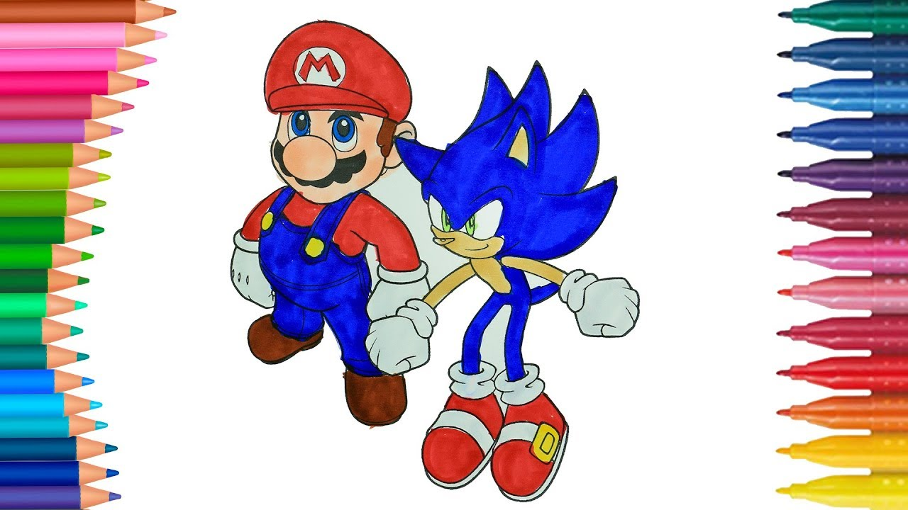 Mario And Sonic Coloring Page Coloring Book For Kids