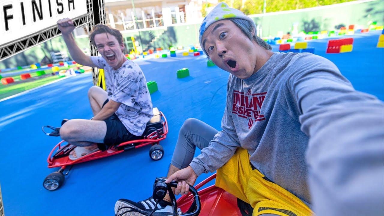 Mini Go Kart Race! (Obstacle Course Challenge)