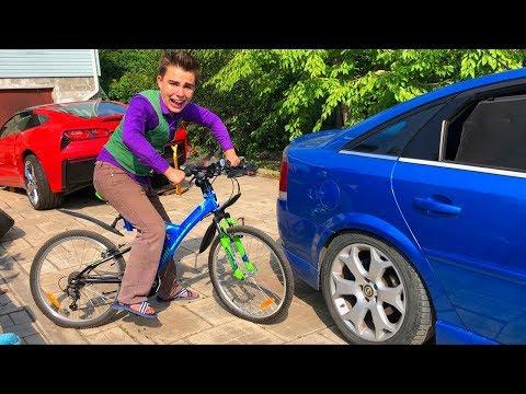 Mr. Joe Found Bike In Forest & Started BikeRace On Cool Bike VS Opel Vectra OPC For Kids