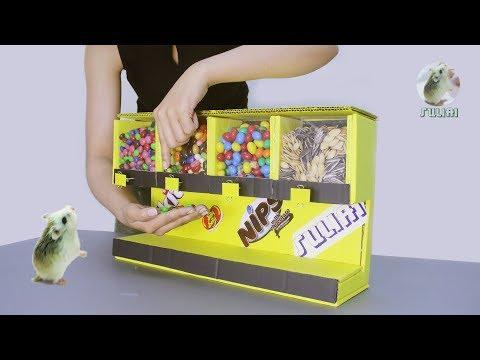 Smart Girl Makes Candy Dispenser Vending Machine - Cardboard DIY Project for Kids