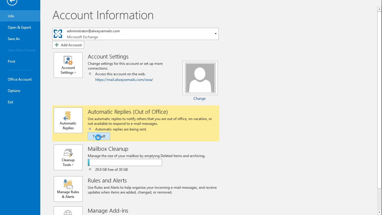Outlook - Turning OFF Automatic Replies