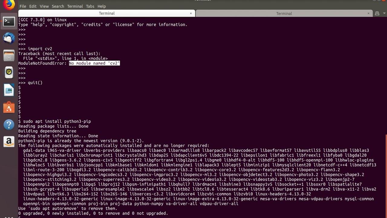 Python ModuleNotFoundError: No module named 'cv2'