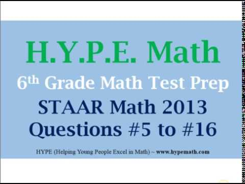 6th Grade Staar Math 2013 Questions 5 To 16 Youtube
