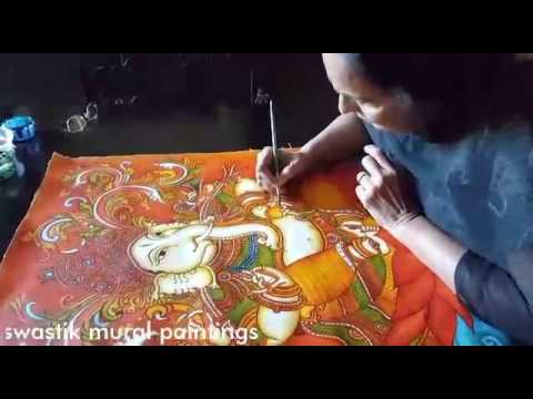Kerala mural painting tutorial youtube for Asha mural painting guruvayur