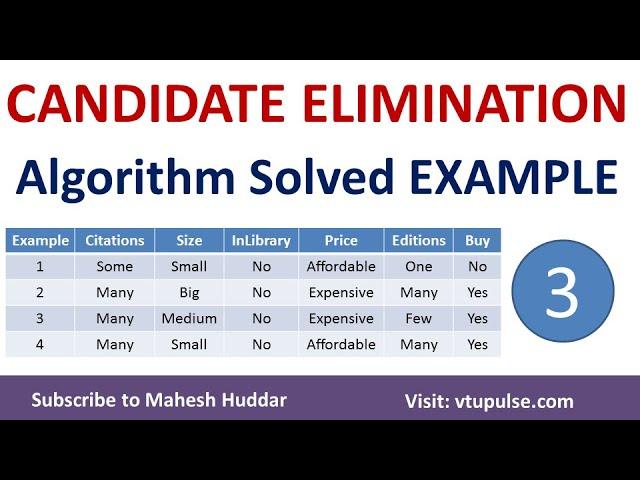 3. Candidate Elimination Algorithm | Solved Example - 3 | Machine Learning by Mahesh Huddar