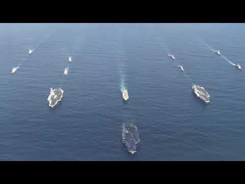 U.S. Navy Three Carrier Formation in Western Pacific Ocean