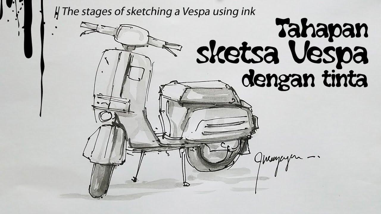 80 Sketsa Gambar Vespa