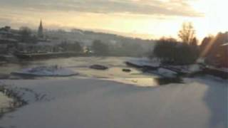 SNOW COVERED RIVER NITH, DUMFRIES SCOTLAND UK..
