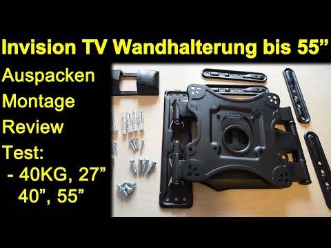 """invision-wandhalterung-bis-55-zoll-hdtv-e---auspacken-montage-test-40-kg,-27""""-40""""-monitor,-55""""-tv"""