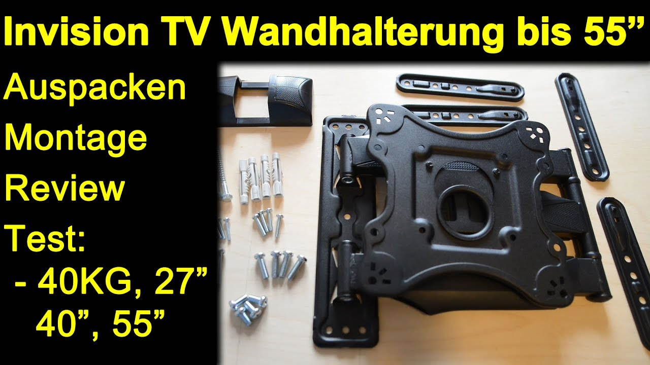 invision wandhalterung bis 55 zoll hdtv e auspacken montage test 40 kg 27 40 monitor 55. Black Bedroom Furniture Sets. Home Design Ideas