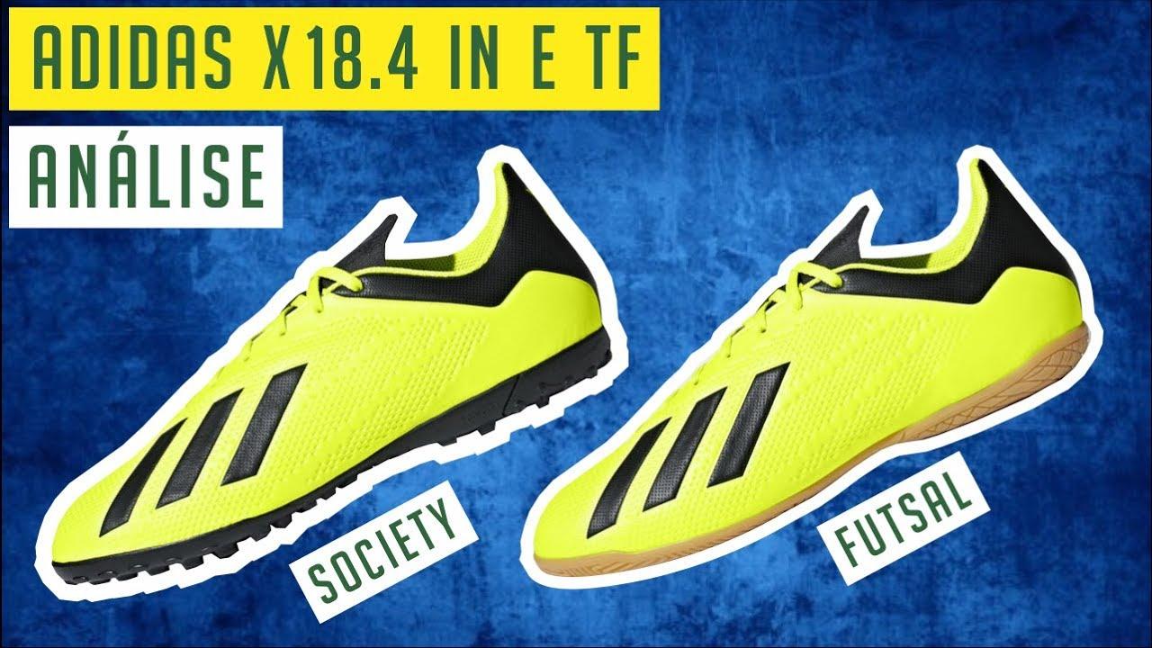 94358a9fe347b CHUTEIRA ADIDAS X 18.4 IN (FUTSAL) E TF (SOCIETY) - ANÁLISE   REVIEW ...