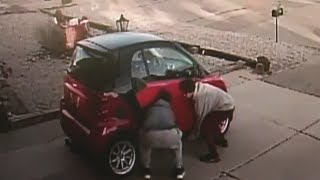 Two teens caught on camera trying to flip over 'Smart Car'