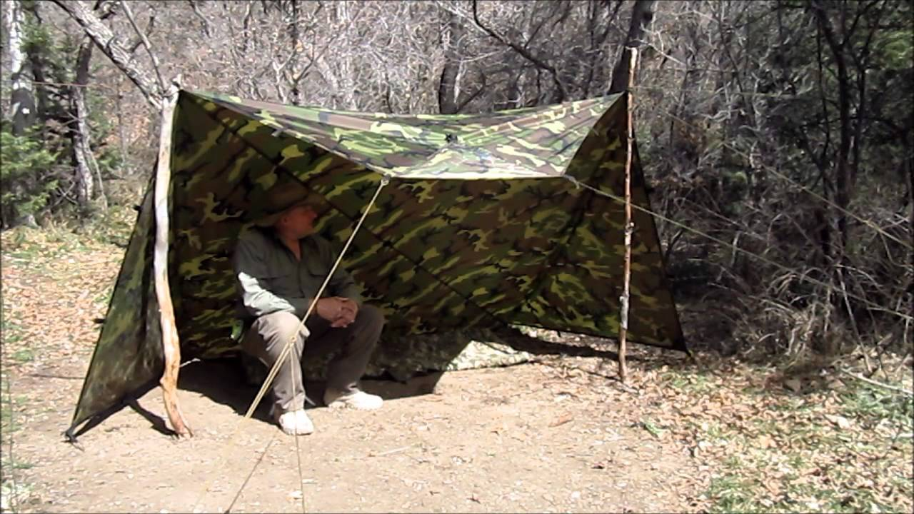 & Make a Whelen Tent with a Square Tarp - YouTube