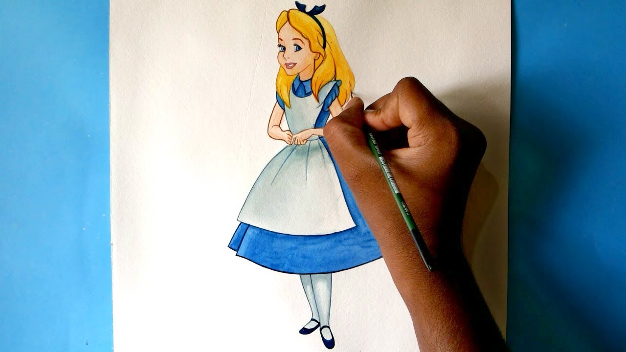 How To Draw Alice From Alice In Wonderland Youtube