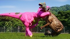 BARNEY T-REX vs ALL HERBIVORES DINOSAURS - Jurassic World Evolution