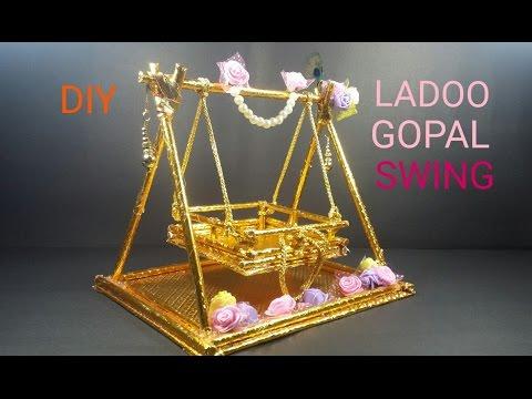 DIY# LADOO GOPAL SWING/ KULFI STICK JHULA/ HOW TO MAKE/ CWM# 7 - YouTube