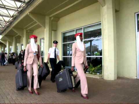 emirates cabin crew leaving entebbe airport