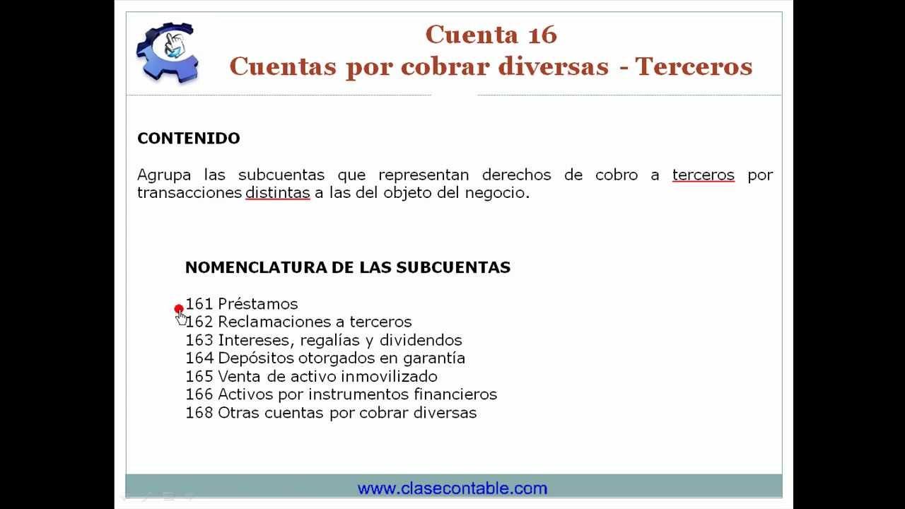 Cuenta 16 - Cuentas por cobrar diversas - Terceros - YouTube