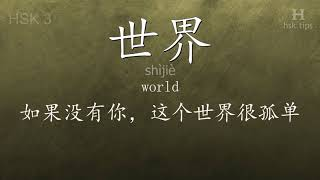 Chinese HSK 3 vocabulary 世界 (shìjiè), ex.5, www.hsk.tips