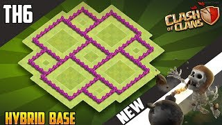 LATEST Town Hall 6 (TH6) HYBRID Base Design 2018!! COC Best Th6 Hybrid Base Layout - Clash of Clans